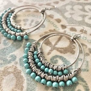 Silver & Baby Blue Boutique Statement Earrings